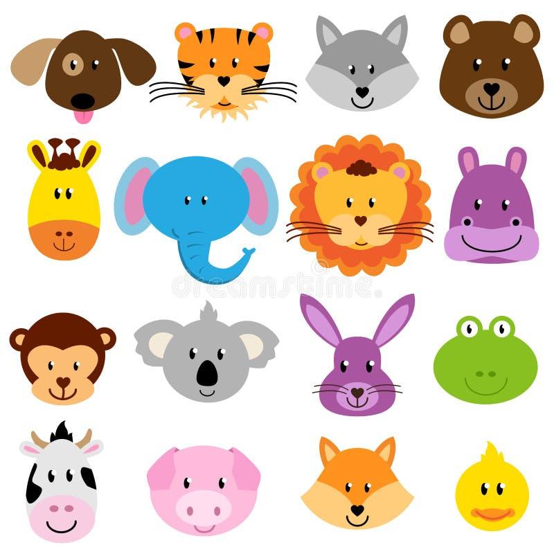 Vektor-Zoo-Tiergesichter eingestellt lizenzfreie abbildung