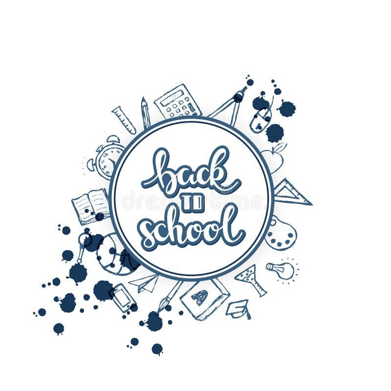 Vektor zurück zu Schulhintergrund mit Hand gezeichnetem Text und unterschiedlichem Schulmaterial herum stock abbildung