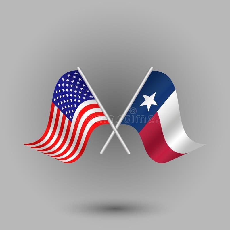 Vektor zwei kreuzte Amerikaner und Flagge von Texas-Symbolen von Staaten von Amerika USA stock abbildung