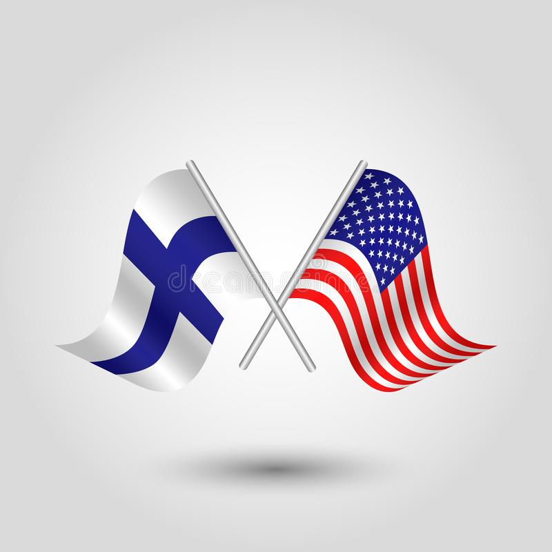 Vektor zwei kreuzte amerikanische finnische Flaggen auf silbernen St?cken - Symbol von Staaten von Amerika und von Finnland vektor abbildung