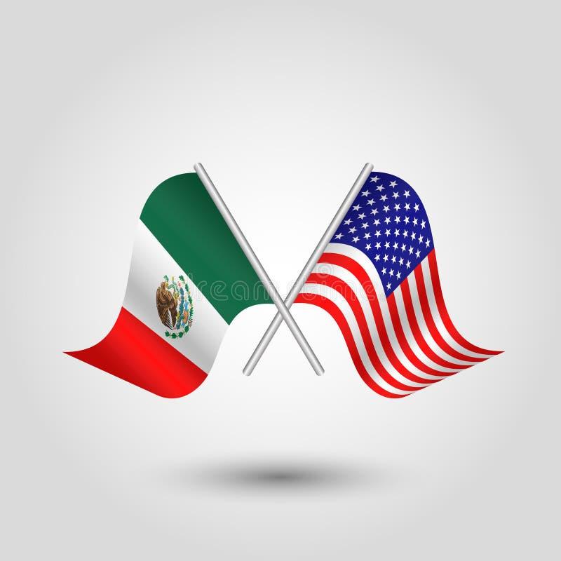 Vektor zwei kreuzte amerikanische mexikanische Flaggen auf silbernen St?cken - Symbol von Staaten von Amerika und von Mexiko vektor abbildung