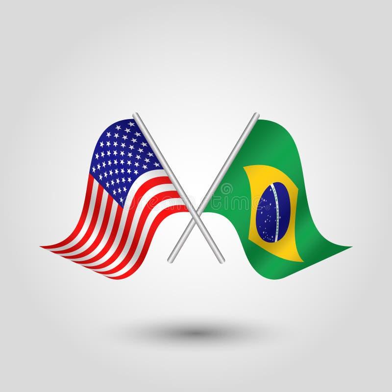 Vektor zwei kreuzte die amerikanischen und brasilianischen Flaggen auf silbernen Stöcken lizenzfreie abbildung
