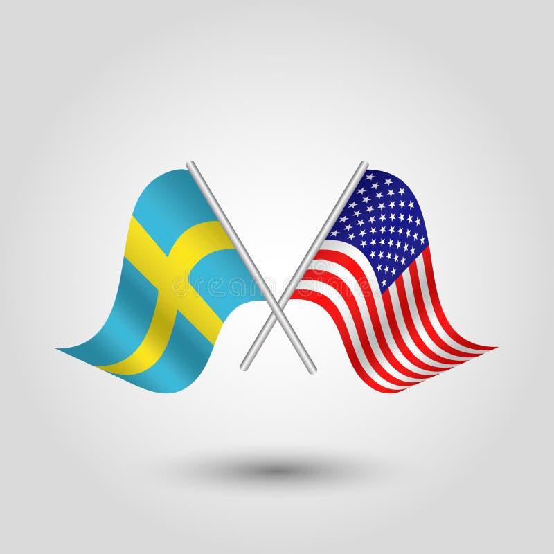 Vektor zwei kreuzte Schwedisch und amerikanische Flaggen auf silbernen Stöcken lizenzfreie abbildung