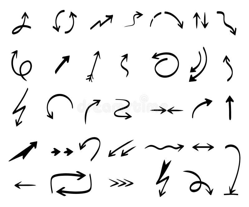 Vektorabbildung der Farbenpfeile Handzeichnungszusammenfassung formt Koordinationsrichtungspfeilvektor-Reihe vektor abbildung