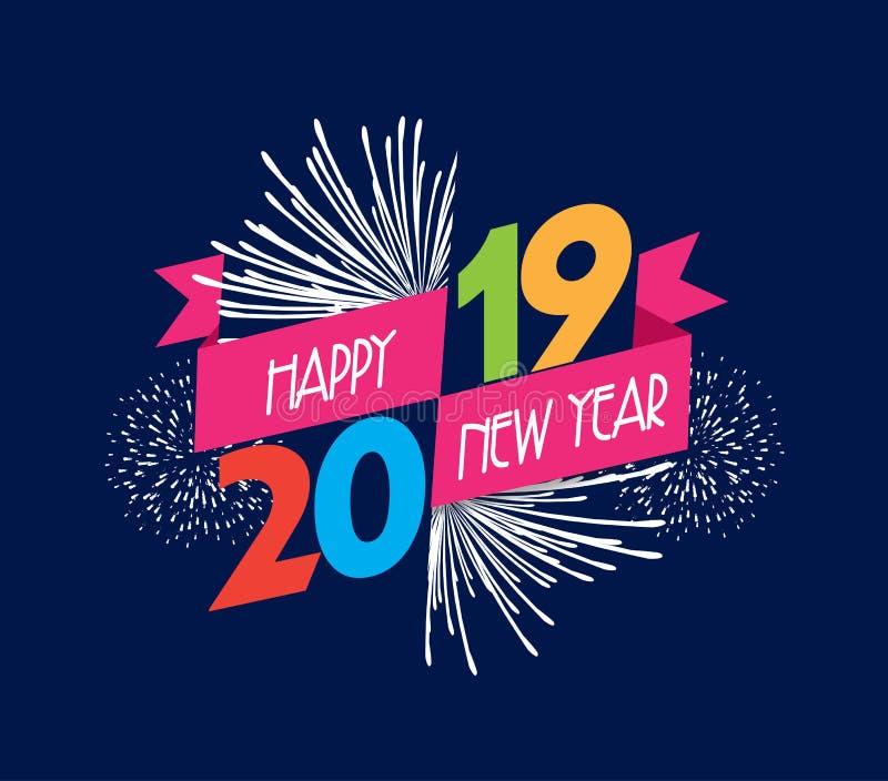 Vektorabbildung der Feuerwerke Guten Rutsch ins Neue Jahr-Hintergrund 2019 lizenzfreie abbildung