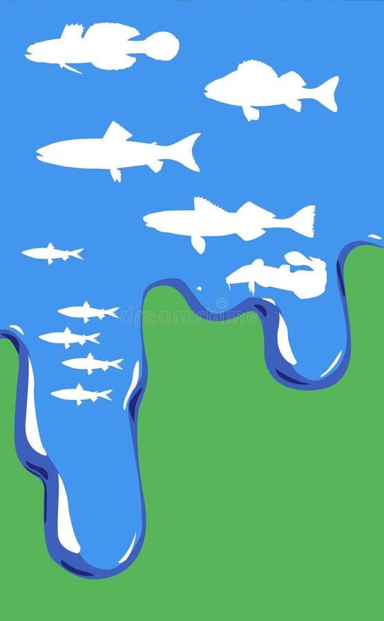 Vektorabbildung der Fische im Wasser lizenzfreie abbildung