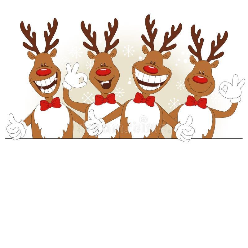 Vektorabbildung der Karikatur Weihnachtsrotwild vektor abbildung