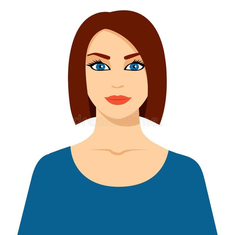 Vektorabbildung der sch?nen Frau Hübsche Frauenkarikatur-Vektorillustrationen lokalisiert auf weißem Hintergrund hübsches Frau ic lizenzfreie abbildung