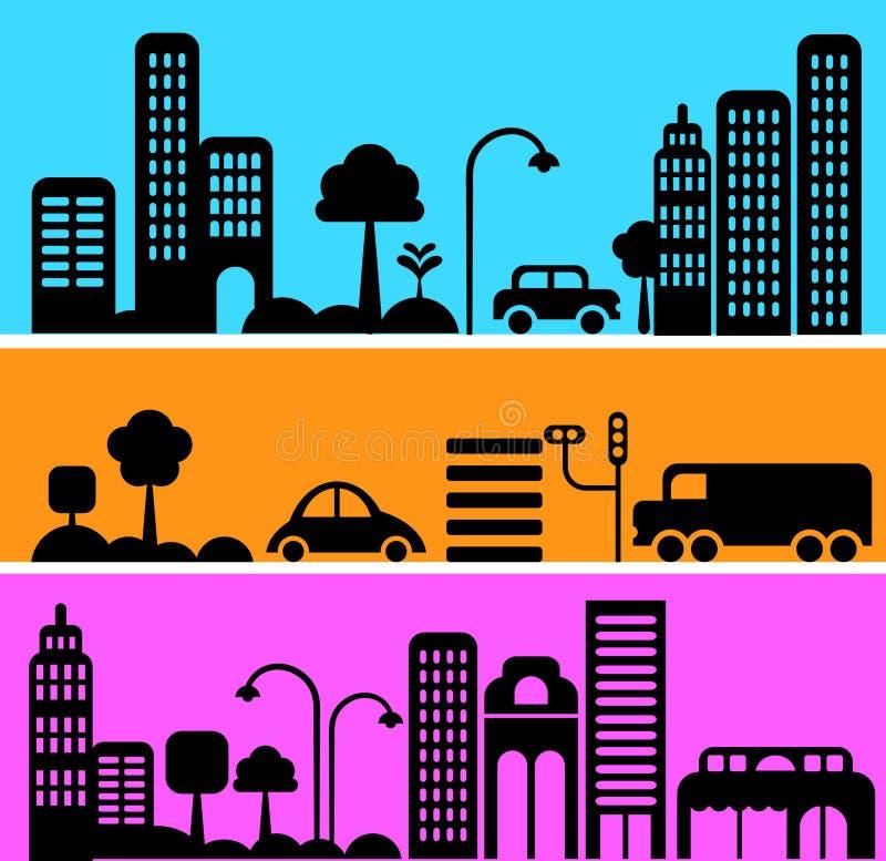 Vektorabbildung der städtischen Straßenszene vektor abbildung