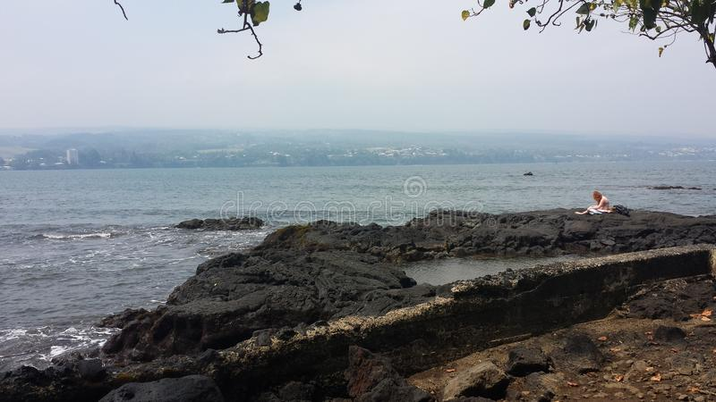 Vektorabbildung des tropischen Strandes lizenzfreies stockbild