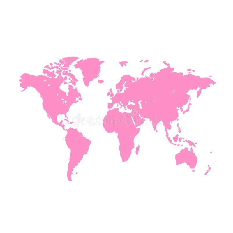 Vektorabbildung, getrennt auf einem Weiß Schmutzillustration der Schattenbildweltkarte Rosa leere Vektorweltkarte lizenzfreie abbildung