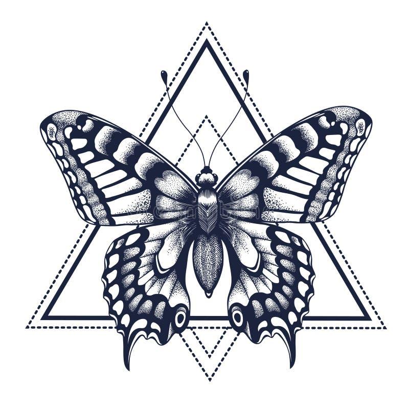 Vektorabbildung, getrennte Schwarzweiss-Nachrichten Dotwork-Tätowierung Grafische Künste Schmetterling im Dreieck, Geometrie Myst stock abbildung