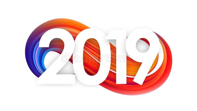 Vektorabbildung: Glückliches neues Jahr Zahl von 2019 auf buntem abstraktem Farbenanschlag-Formhintergrund Modisches Design lizenzfreie abbildung