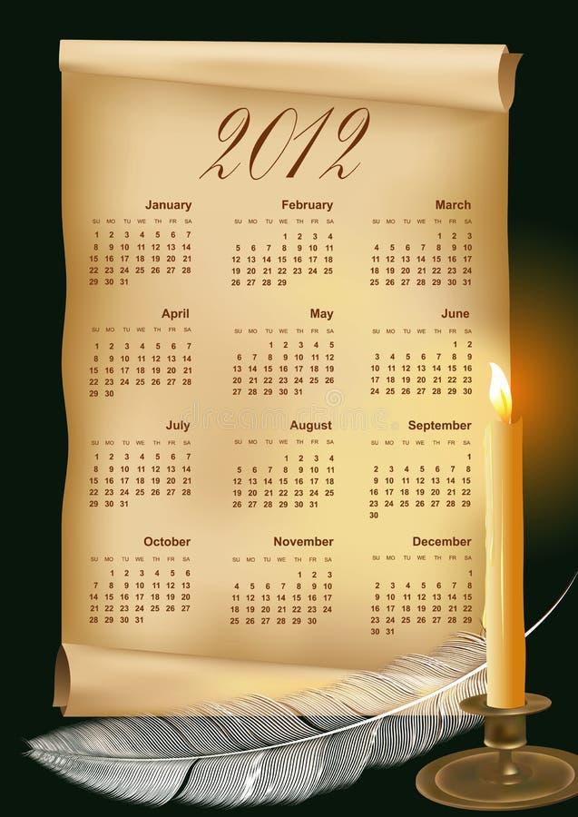 Vektorabbildung mit Kalender 2012 stockfotografie