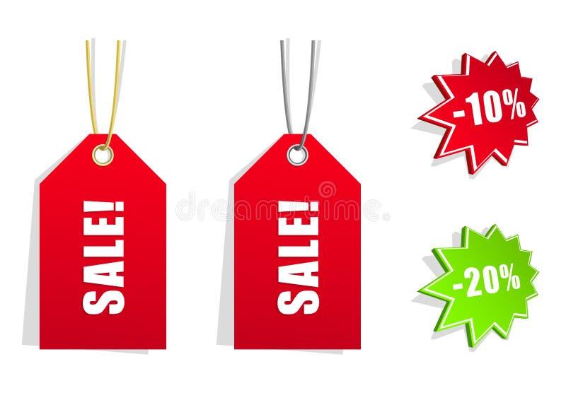 Vektorabbildung von 4 Verkaufsaufklebern stock abbildung