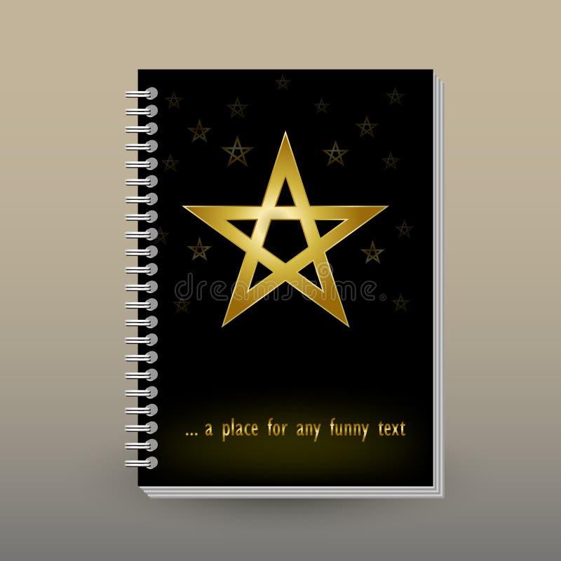 Vektorabdeckung des Tagebuchs mit Ringspiralenmappe - Format A5 - Planbroschürenkonzept - Goldpentagram auf schwarzem backgrou vektor abbildung