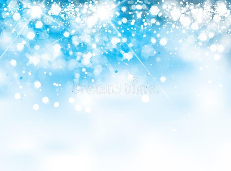 Vektorabstrakt begrepp, blått, gnistrandebakgrund stock illustrationer