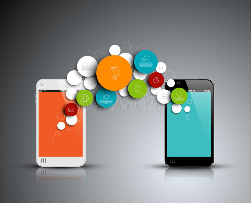 Vektorabstrakt begrepp cirklar den infographic mallen med telefoner royaltyfri illustrationer