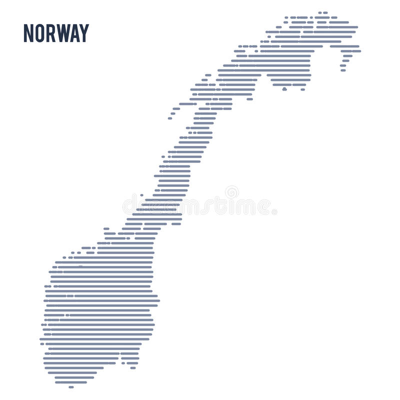 Vektorabstrakt begrepp kläckte översikten av Norge med linjer som isolerades på en vit bakgrund royaltyfri illustrationer