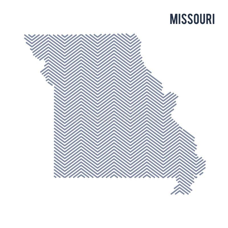 Vektorabstrakt begrepp kläckte översikten av staten av Missouri isolerade på en vit bakgrund vektor illustrationer
