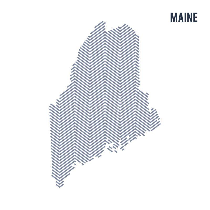 Vektorabstrakt begrepp kläckte översikten av tillståndet av Maine isolerade på en vit bakgrund royaltyfri illustrationer