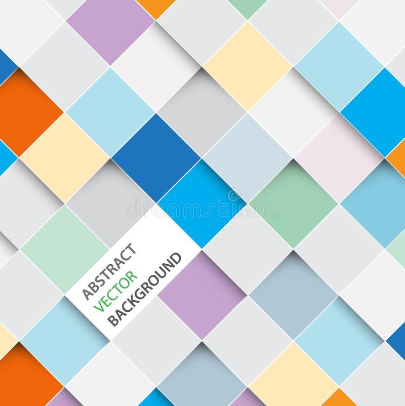 Vektorabstrakt begrepp kvadrerar bakgrund stock illustrationer