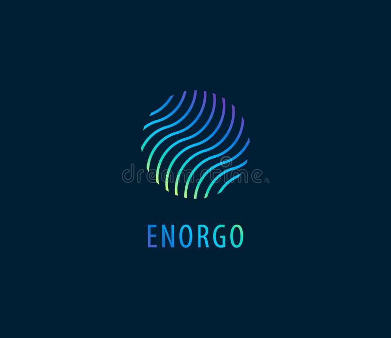 Vektorabstrakt begrepp vinkar i färgrik logo för cirkel Energi vatten royaltyfri illustrationer