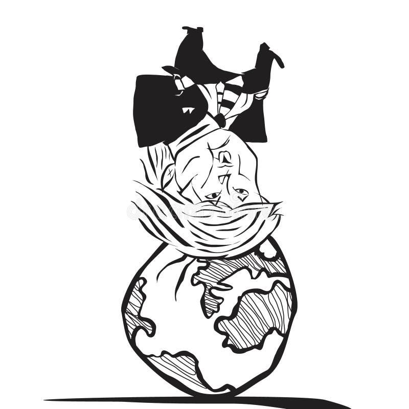 Vektorabstrakt begreppkarikatyr av Donald Trump som är uppochnervänd med världen på hans huvud royaltyfri illustrationer