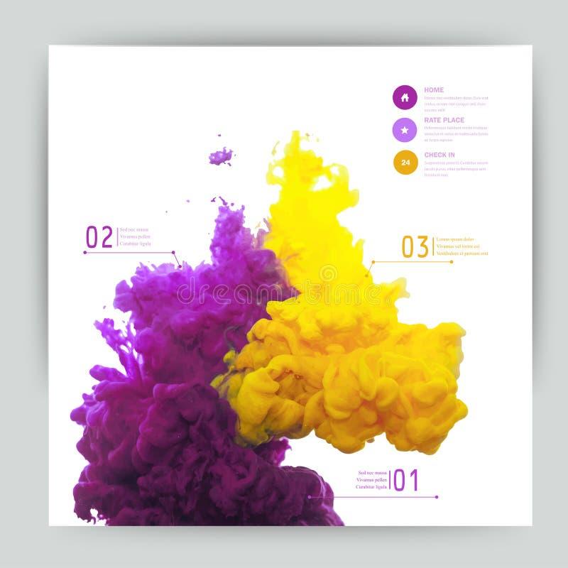 Vektorabstrakt begreppmoln Ink att virvla runt i vatten, moln av färgpulver i wa vektor illustrationer