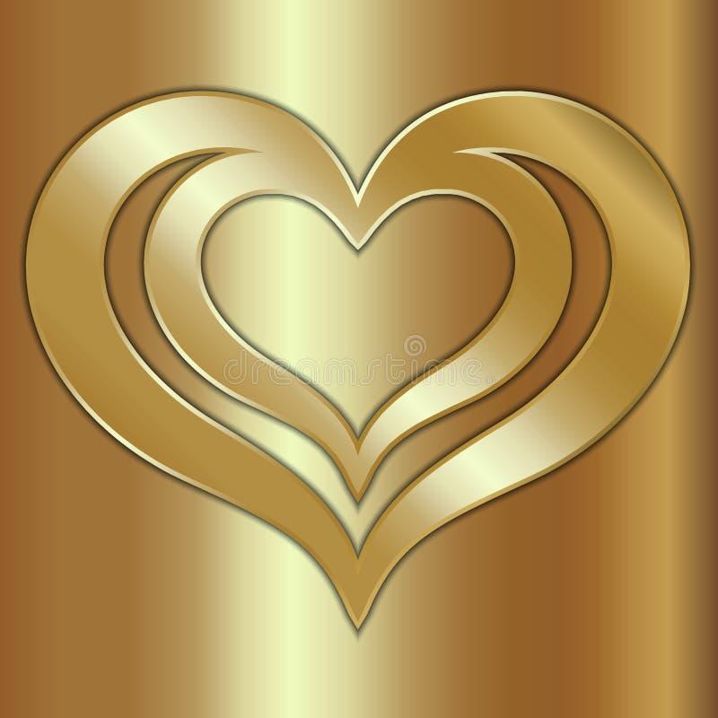 Vektorabstrakt begrepppar av guld- hjärtor på rött vektor illustrationer