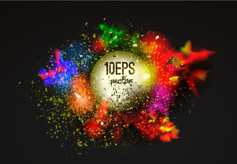 Vektorabstraktion från en blandning av färger, explosion vektor illustrationer
