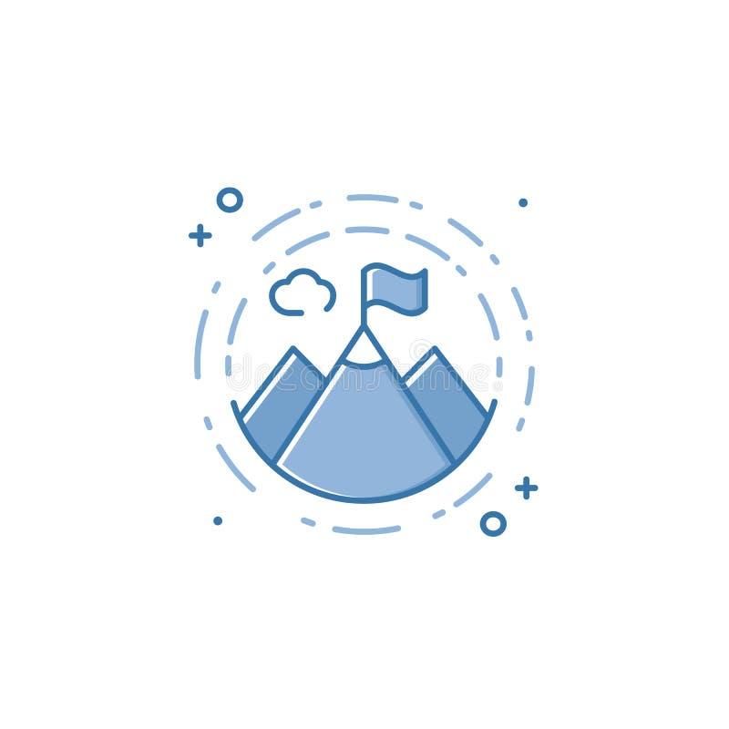 Vektoraffärsillustration av den blåa bergsymbolen i linjär stil royaltyfri illustrationer
