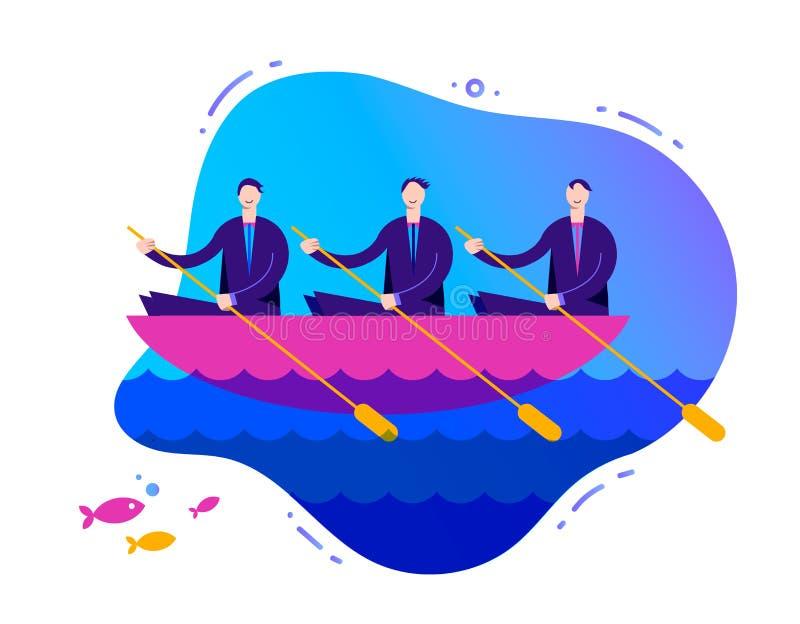 Vektoraffärsillustration, stiliserade tecken Lyckat teamworkbegrepp, 3 affärsmän som ror ett fartyg stock illustrationer