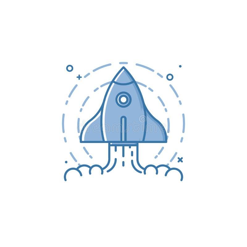 Vektoraffärsillustrationen av blåa färger flyger skeppsymbolen i översiktsstil stock illustrationer