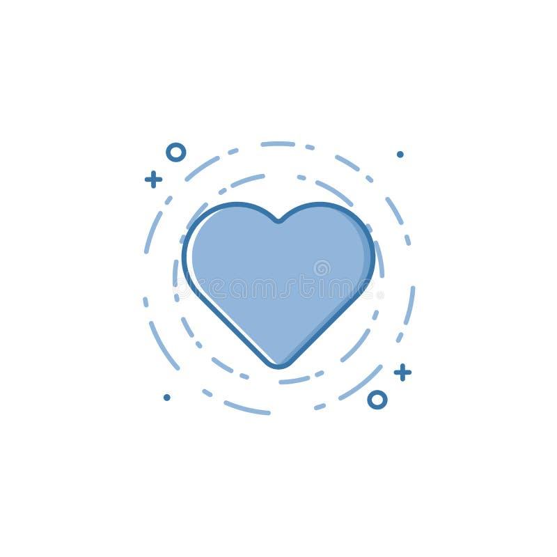 Vektoraffärsillustrationen av blått färgar hjärtasymbolen i linjär stil vektor illustrationer