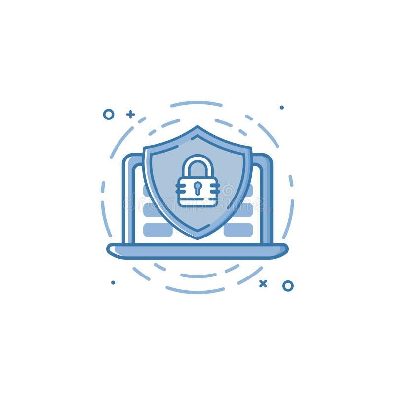 Vektoraffärsillustrationen av skölden för blåttfärgskydd med lås- och bärbar datorsymbolen i översikt utformar vektor illustrationer