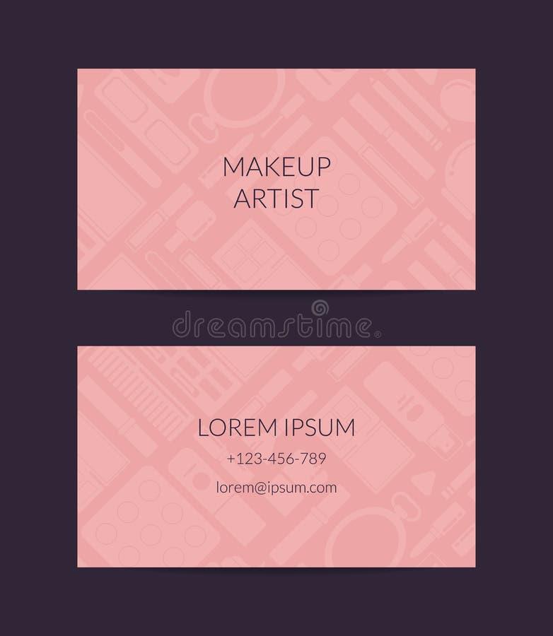 Vektoraffärskort för skönhetmärke eller makeup royaltyfri illustrationer