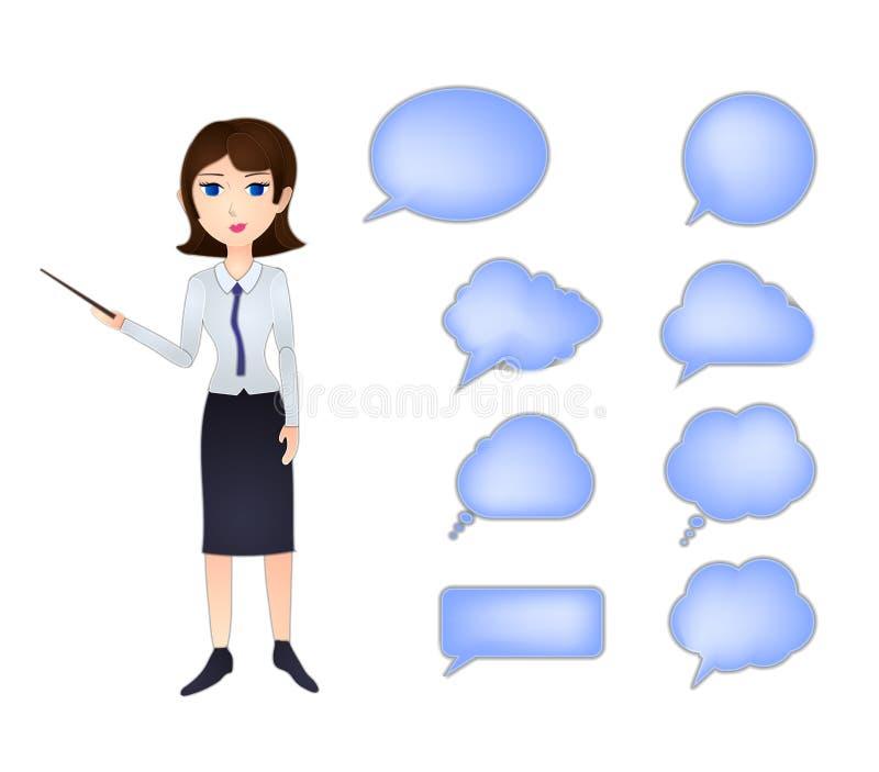 Vektoraffärskvinna med pekaren och samtalbubblauppsättning som isoleras på vit bakgrund, mellanrumsramsamling stock illustrationer