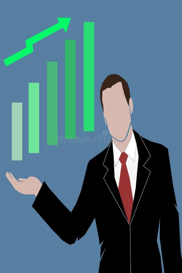 Vektoraffärsman med den växande grafen för affär royaltyfri illustrationer