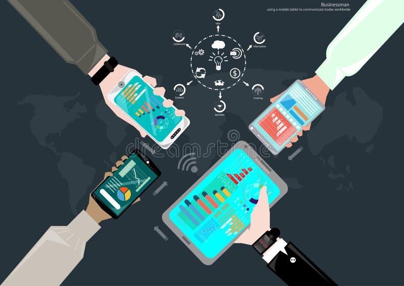 Vektoraffärsman som använder datateknik för att meddela med symbolerna för global affär sådan brukslägenhetdesign vektor illustrationer