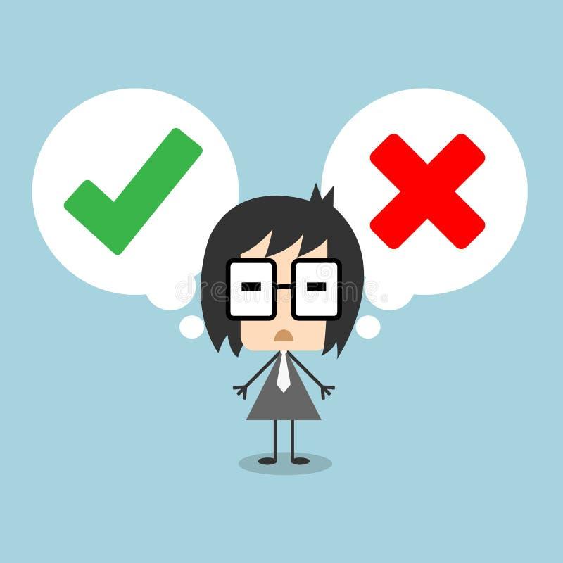 Vektoraffärsmananseendet med anförandebubblan, danandebeslut mellan högert eller fel föreställer med checkmark- och korssymbol stock illustrationer