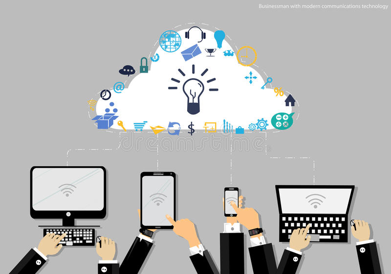 Vektoraffärsmannen med den moderna minnestavlan för symbolen för kommunikationsteknologi och affärsbildar Använt för arbetslägenh vektor illustrationer