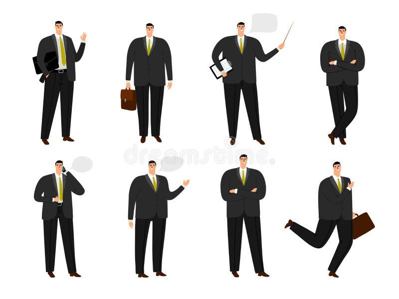 Vektoraffärsmantecken Samling för funktionsduglig man för kontor som isoleras på vit, uppsättning för tecknad filmaffärsman i ans vektor illustrationer