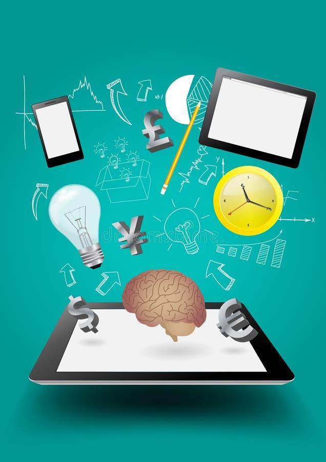 Vektoraffärsteknologi, idérik begreppsidé som flyger ut ur minnestavladatorPC stock illustrationer