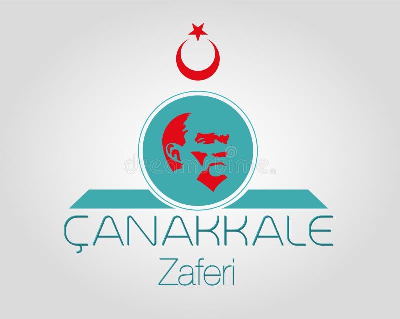 Vektoraffisch av den nationella segerdagen av Chanakkale, Turkiet Zafer Bayrami royaltyfri illustrationer
