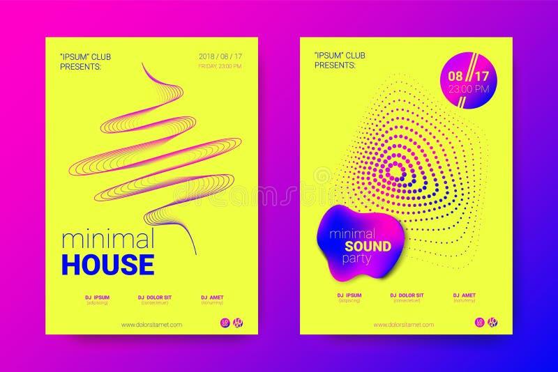 Vektoraffisch av förvridna rundor för elektronisk musik Fest stock illustrationer