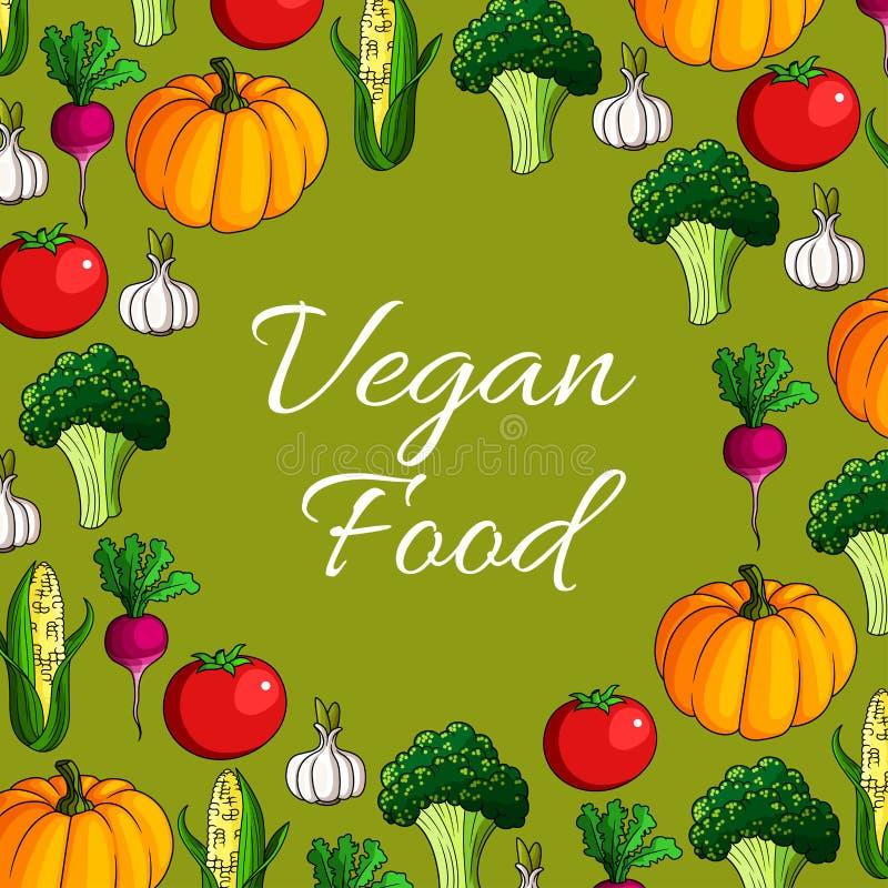 Vektoraffisch av grönsaker eller veggiesstrikt vegetarianmat royaltyfri illustrationer