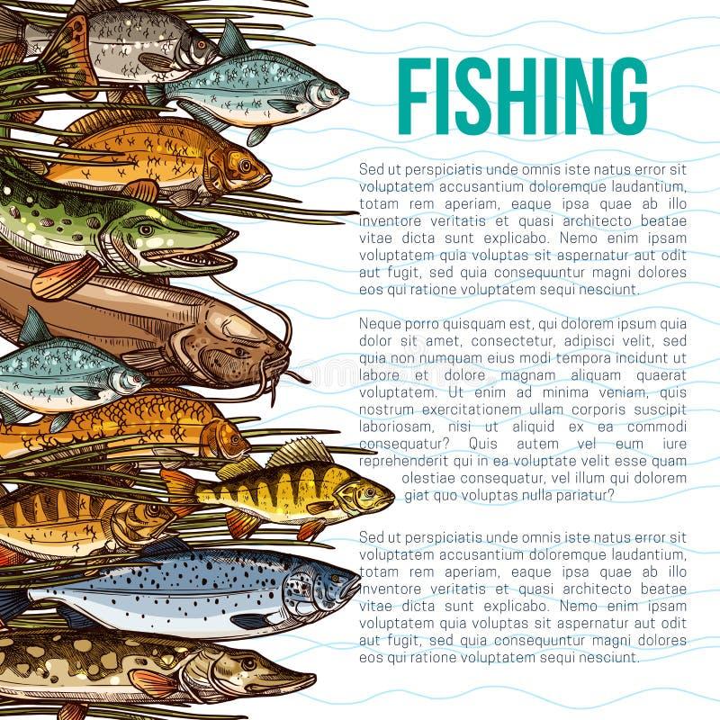 Vektoraffisch för att fiska eller havsfiskprodukt royaltyfri illustrationer