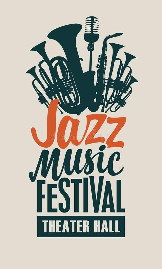 Vektoraffisch för en jazzmusikfestival stock illustrationer