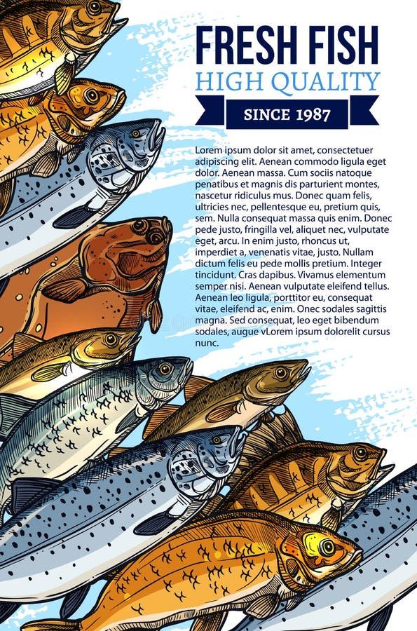 Vektoraffisch för ny fisk eller havs- marknad vektor illustrationer